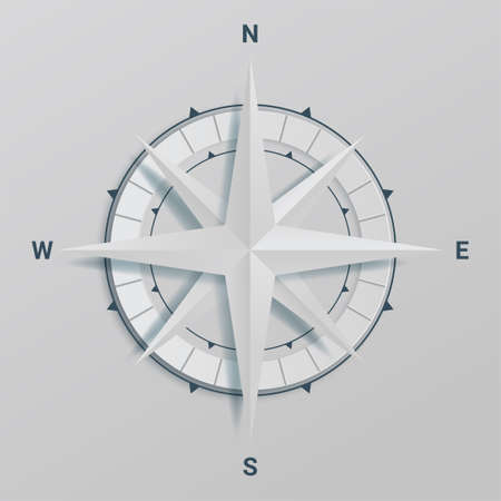 Paper Cutout compass with shade in 3d and origami style