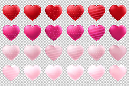 Vector heart shaped balloons set isolated on transparent background Иллюстрация