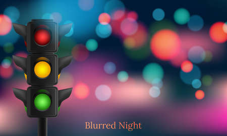Realistic traffic lights with all three colors