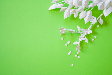 Blossoming branch of cut white paper on green background. spring