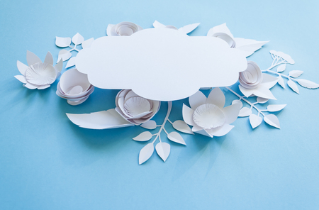 Festive flower composition with white paper flowers with greeting festive flower composition with white paper flowers with greeting card on the blue background flat mightylinksfo