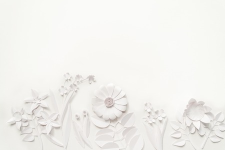 white paper flowers wallpaper on white background, spring summer background, floral design elements