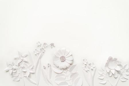 white paper flowers wallpaper on white background, spring summer background, floral design elements Stok Fotoğraf - 78497623