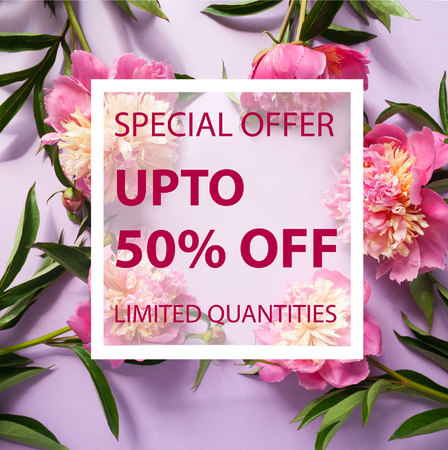 50 off: Summer sale background with flowers. Banner, flyer, invitation, posters, brochure voucher discount Advertising Stock Photo