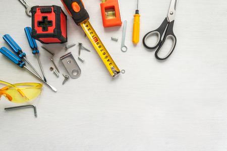 Many tools on white background Stock Photo