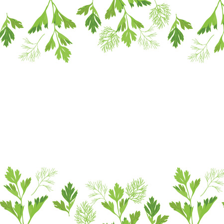 A frame of parsley and dill. Vector illustration. Фото со стока - 93872730