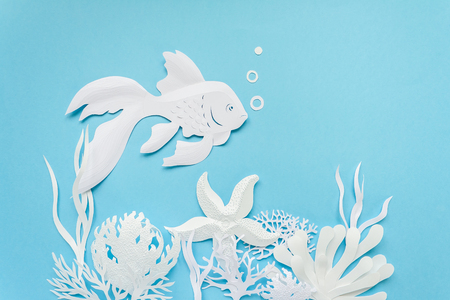 Fish close up cut from white paper on blue background. The ocean and the undersea world with different inhabitants, corals and starfish