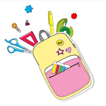 Creative school bag painted with school stationery. Trendy concept Çizim