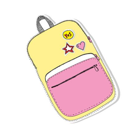 Creative school bag. painted backpack in the style of Doodle. back to school concept Çizim