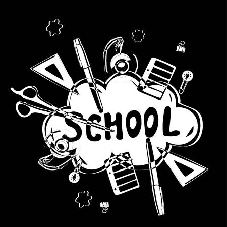 Creative cloud with the word school on the background of stationery painted in the style of Doodle Çizim