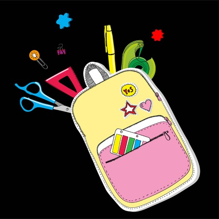 Creative school bag painted with school stationery on blackboard. Trendy concept