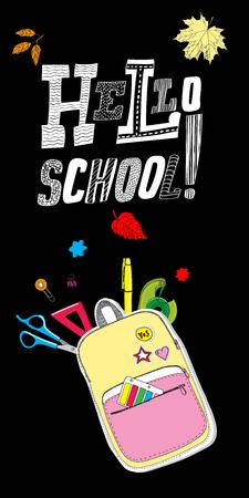 Lettering Hello, School with Creative school bag made of paper with school stationery. Trendy concept Vettoriali