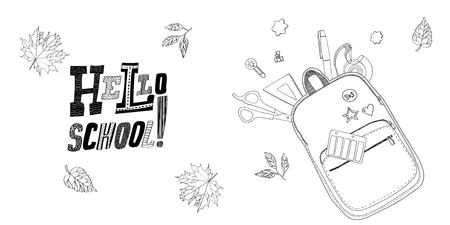 Lettering Hello, School with Creative school bag made of paper with school stationery. Trendy concept Çizim