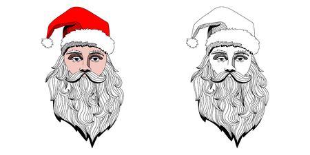 Portrait of Santa Claus head. Vector hand drawn Stok Fotoğraf
