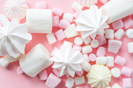 Pastel food set of colorful marshmallow on pink background. Dessert, minimalistic design.