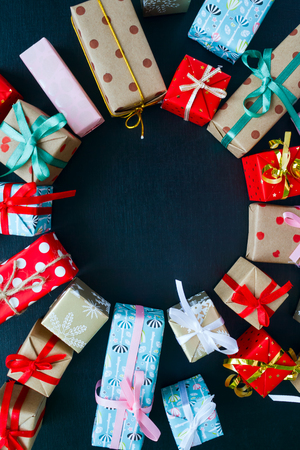 Christmas gifts on a black background Imagens