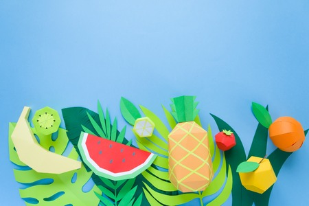 exotic fruits made of paper. fruit concept