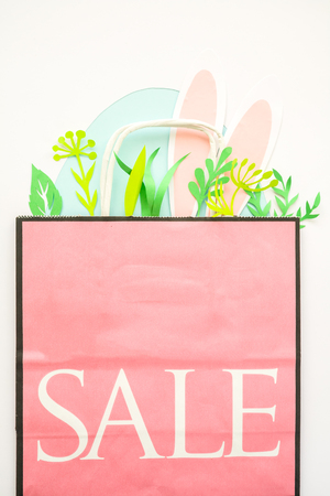 Easter sale, package with egg, rabbit ears. Easter Bunny