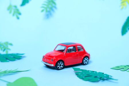 small toy red car carries tropical leaves cut from paper. The concept of summer and travel