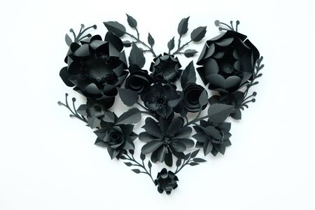 Black paper flowers, floral background, bridal bouquet, wedding, quilling, Valentines day greeting card, heart shape on white background. Gothic