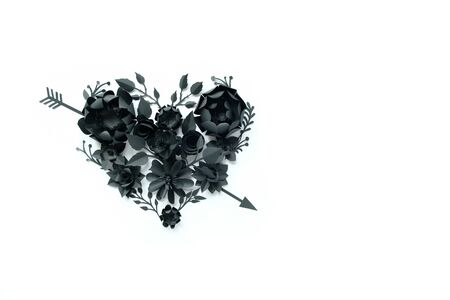 Black paper flowers, floral background, bridal bouquet, wedding, quilling, Valentines day greeting card, heart shape on white background. Gothicbroken heart, Cupids arrow
