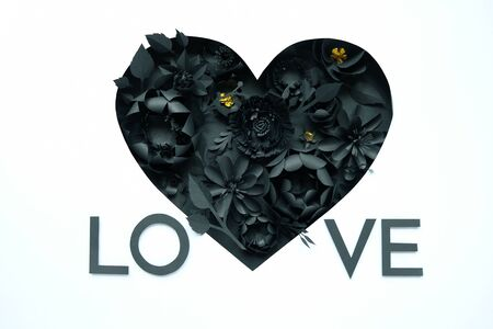 Black paper flowers, floral background, bridal bouquet, wedding, Valentines day greeting card, heart shape