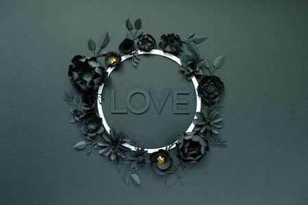 Black paper flowers, floral background, bridal bouquet, wedding, Round frame Stock Photo