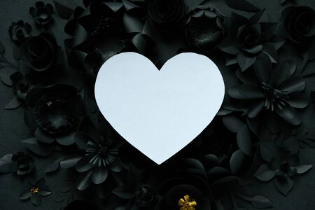 Black paper flowers, floral background, bridal bouquet, wedding, quilling, Valentines day greeting card, heart shape Stock Photo