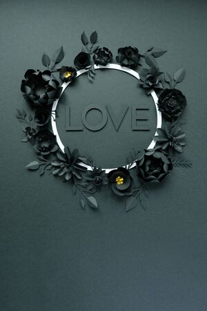Black paper flowers, floral background, bridal bouquet, wedding, quilling, Valentines day greeting card, heart shape on black background. Gothic. Lettering love