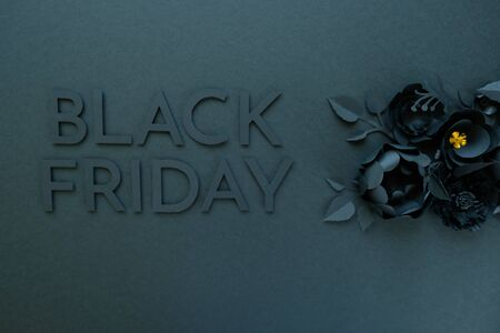 BLack friday concept. Black on black. Cut from paper. Gothic frame Stok Fotoğraf
