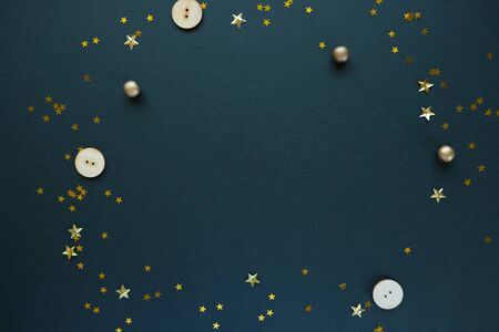 Christmas or New Year gold decoration on black background colorful glass balls on black background with copy space Stok Fotoğraf