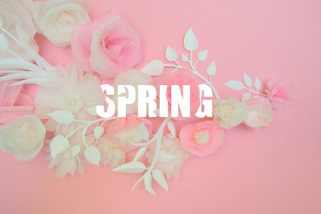 White paper flowers on pink background and spring lettering. Cut from paper. Stok Fotoğraf