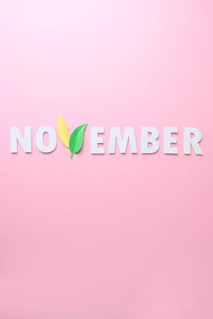 The word November cut from paper with the letter V of leaves on a pink background. Letters are cut out of paper Banque d'images