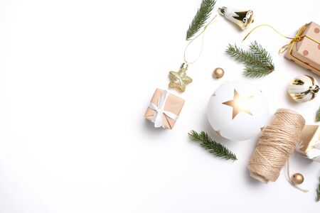 Merry Christmas and Happy New Year. Pattern. White background Archivio Fotografico