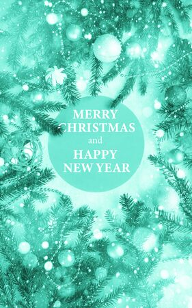 Merry Christmas and happy new year theme with round frame.