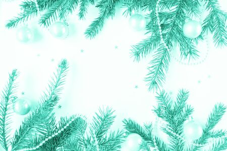 Merry Christmas and Happy New Year. Christmas Card Festive with green Fir Branches and Holiday Object on white Background. Zdjęcie Seryjne