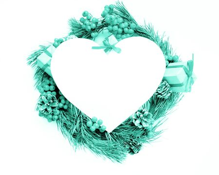 Merry Christmas theme with heart frame. Imagens