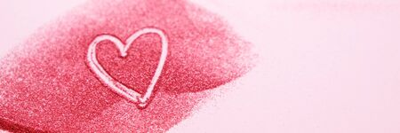 Modern shiny background with heart. Glitter red