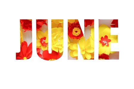 The lettering june, made of paper flowers. Hello, june. Concept of flowering, summer on white background