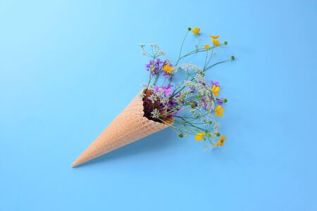 Bouquet of wild flowers in a waffle cone. Summer concept. Flat lay. Фото со стока