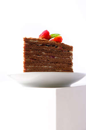 The piece of chocolate cake on white plate. A homemade cake slice. Epic and monumental 免版税图像