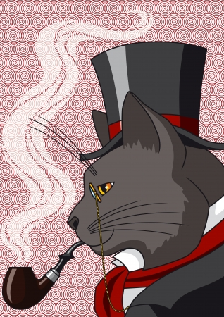 tobacco product:  Vector illustration of a cat in top hat and smoking a pipe