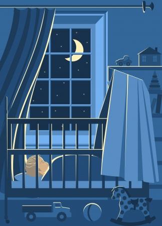 Illustration d'enfants de séjour avec bébé qui dort dans son lit la nuit et ses jouets