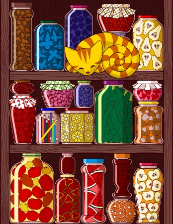 Illustration of shelves with different jars with preserved, fruits, vegetables and berries  Vector