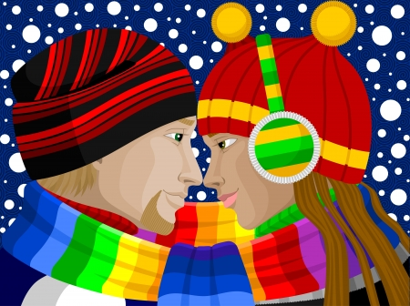 young couple smiling: Vector illustration of young guy and girl in love in winter  Illustration