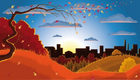 Illustration of an autumn tree, leaves, grass, bush, forest, and town at the sunset  Vector