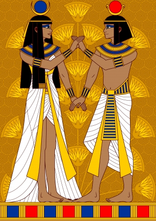plant stand: Illustration of Egyptian couple  woman and man holding hand in hand