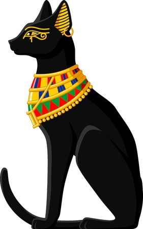 cat: Illustration of a black Egyptian cat isolated on white background  Illustration