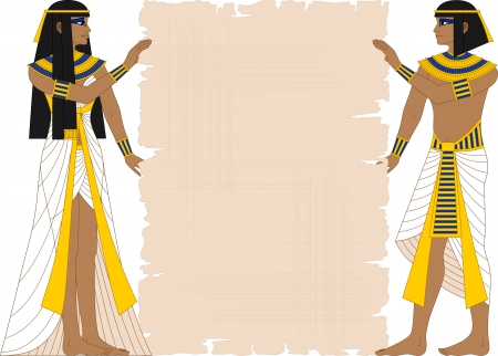Vector illustration of Egyptian woman and man holding papyrus isolated on white  Ilustração