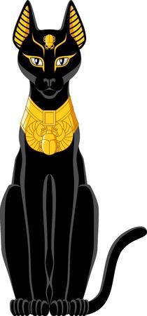 cat goddess: Illustration of a black Egyptian cat isolated on white background  Illustration